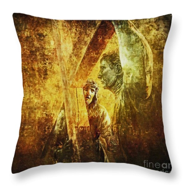 Simon Helps Jesus Via Dolorosa 5 Throw Pillow by Lianne Schneider