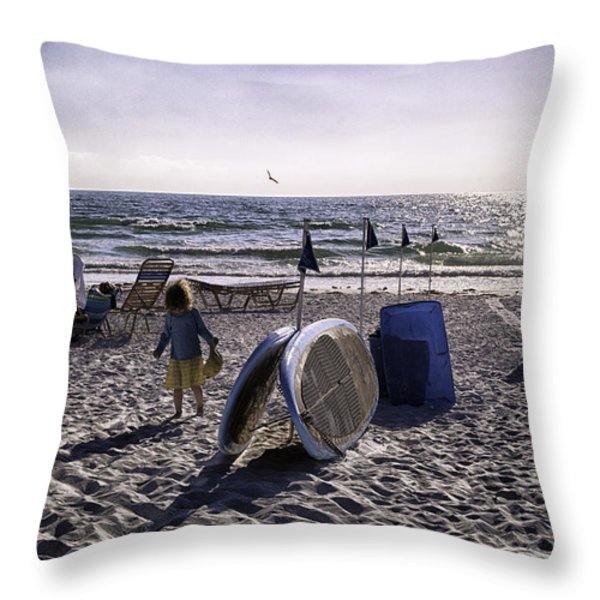 Simpler Times 1 - Miami Beach - Florida Throw Pillow by Madeline Ellis