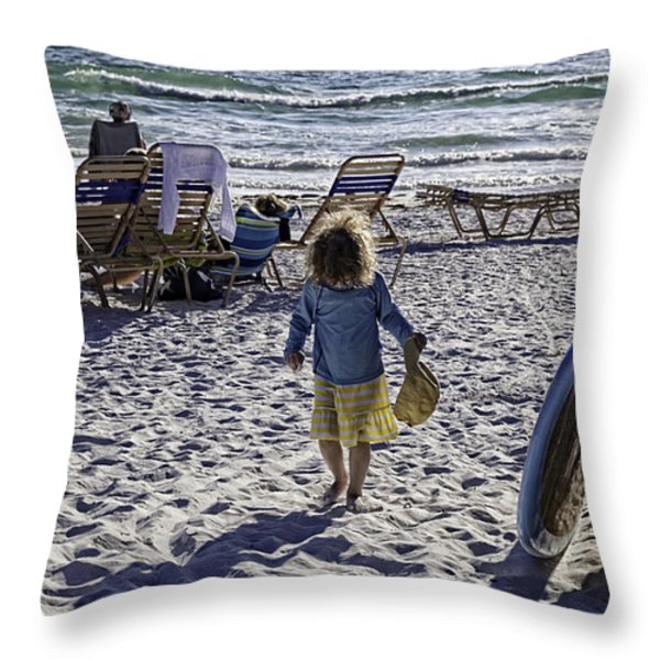 Simpler Times 2 - Miami Beach - Florida Throw Pillow by Madeline Ellis