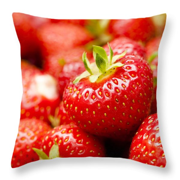 Simply Strawberries Throw Pillow by Anne Gilbert
