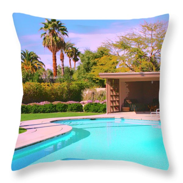 Sinatra Pool Cabana Palm Springs Throw Pillow by William Dey