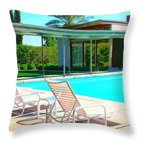 SINATRA POOL Palm Springs Throw Pillow by William Dey