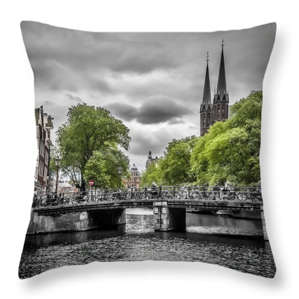 Singel Amsterdam Throw Pillow by Melanie Viola