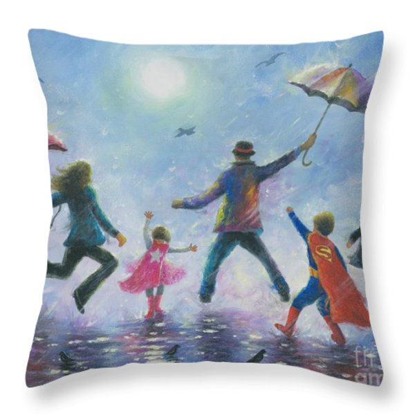 Singing in the Rain Super Hero Kids Throw Pillow by Vickie Wade