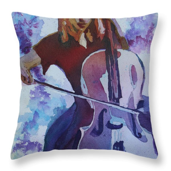 Singing The Cello Throw Pillow by Jenny Armitage