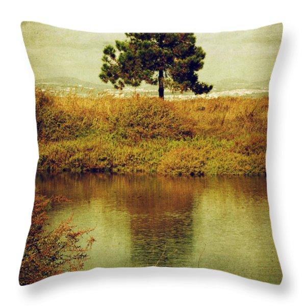 Single pine tree Throw Pillow by Carlos Caetano