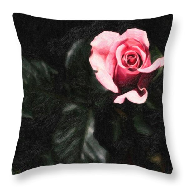 Single Pink Rose Throw Pillow by MotionAge Designs