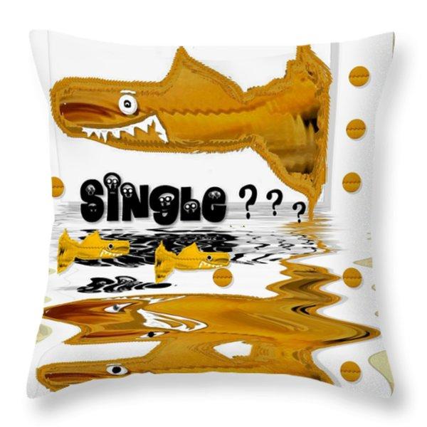single shark pop art Throw Pillow by Pepita Selles