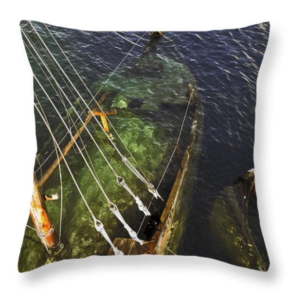 Sinking Sailboat Throw Pillow by Sally Weigand