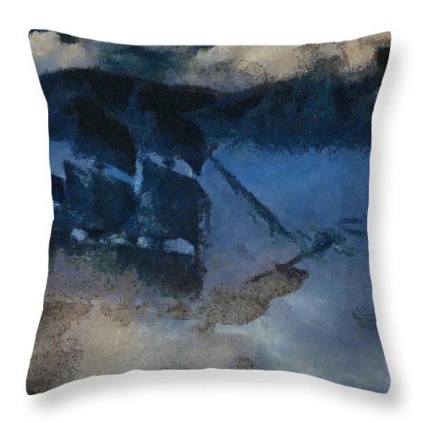 Sinking Sailer Throw Pillow by Ayse Deniz