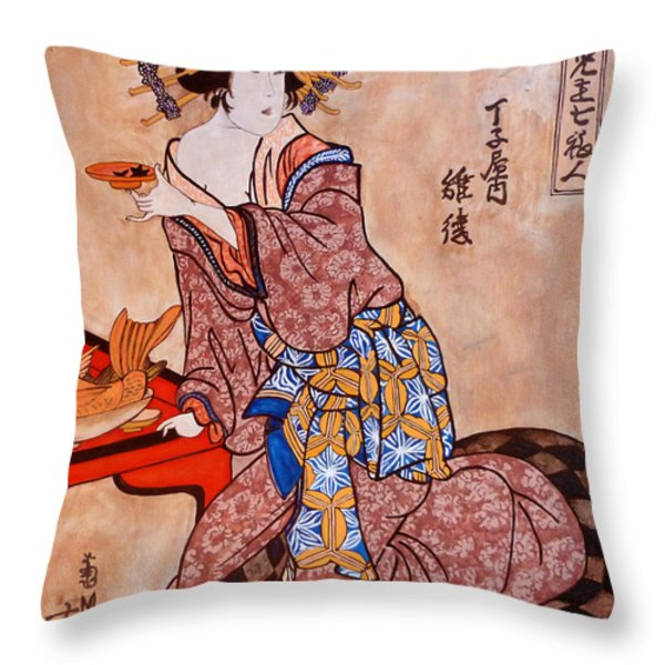 Sipping Sondra Throw Pillow by Tom Roderick