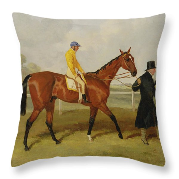 Sir Tatton Sykes Leading In The Horse Sir Tatton Sykes With William Scott Up Throw Pillow by Harry Hall