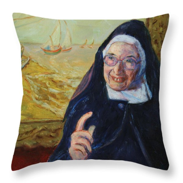 Sister Wendy Throw Pillow by Xueling Zou