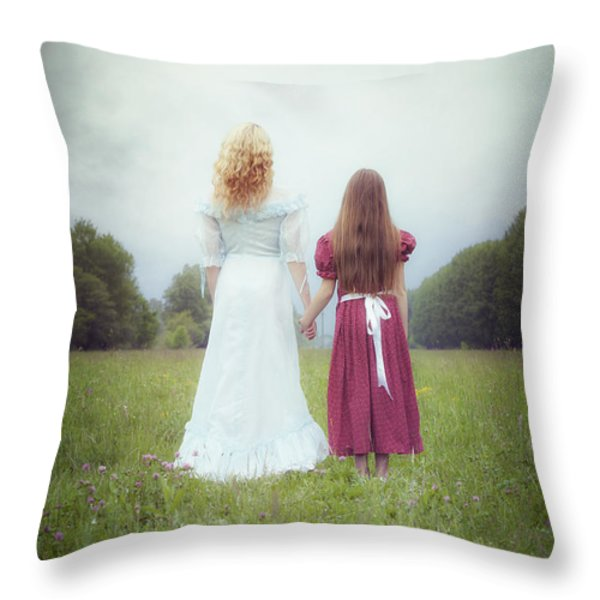 Sisters Throw Pillow by Joana Kruse