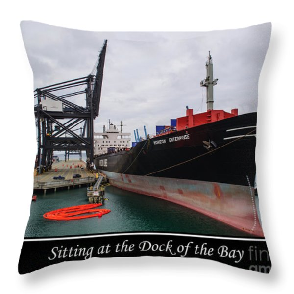 Sitting at the Dock of the Bay Throw Pillow by Roger Reeves  and Terrie Heslop
