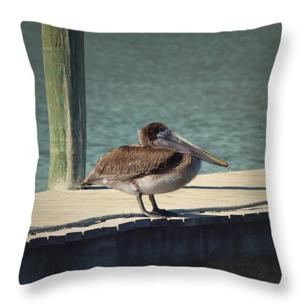 Sitting On The Dock Of The Bay Throw Pillow by Kim Hojnacki