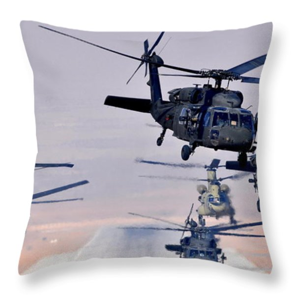 Six Uh-60l Black Hawks And Two Ch-47f Chinooks Throw Pillow by Paul Fearn