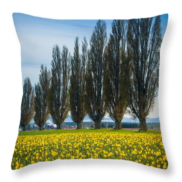 Skagit Trees Throw Pillow by Inge Johnsson