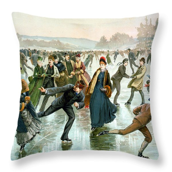 Skating Throw Pillow by Hy Sandham