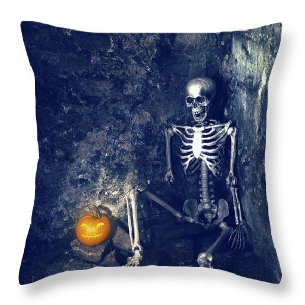 Skeleton With Jack O Lantern Throw Pillow by Amanda And Christopher Elwell