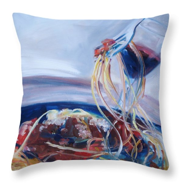 Sketti Throw Pillow by Donna Tuten