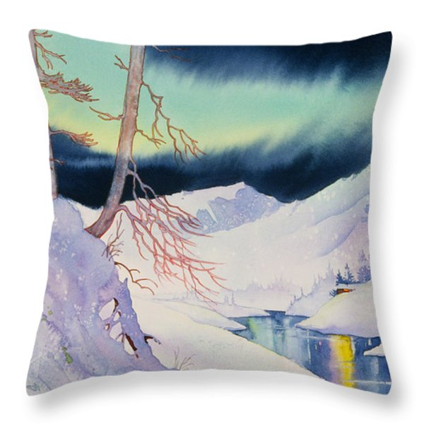 Ski Trail Throw Pillow by Teresa Ascone