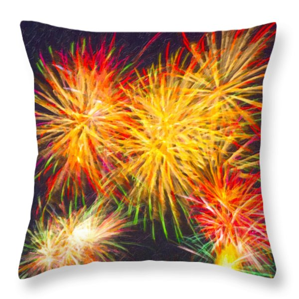 Skies Aglow With Fireworks Throw Pillow by Mark Tisdale