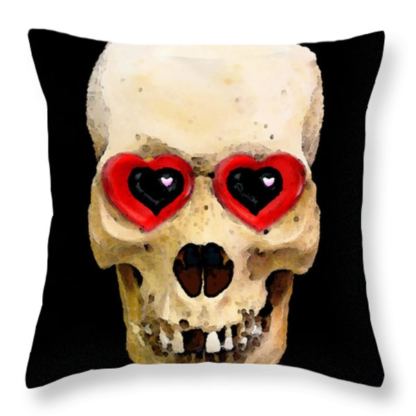 Skull Art - Day Of The Dead 2 Throw Pillow by Sharon Cummings