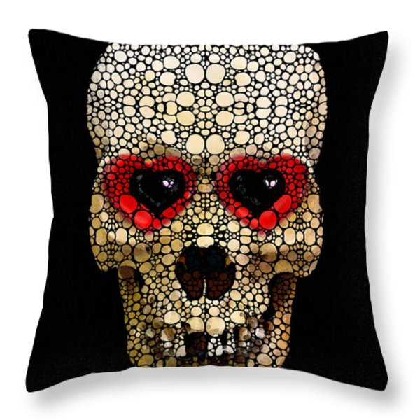 Skull Art - Day Of The Dead 3 Stone Rock'd Throw Pillow by Sharon Cummings