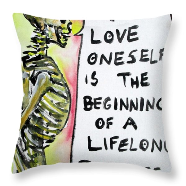 SKULL quoting OSCAR WILDE.9 Throw Pillow by Fabrizio Cassetta
