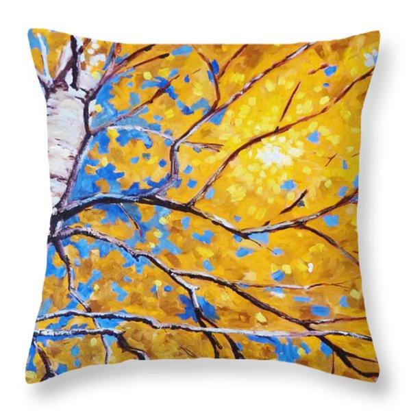 Sky Birch Throw Pillow by Nancy Merkle