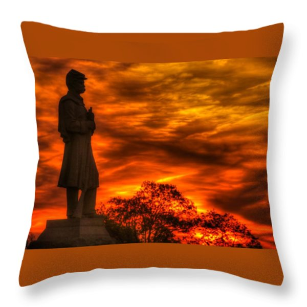 Sky Fire - West Virginia At Gettysburg - 7th Wv Volunteer Infantry Vigilance On East Cemetery Hill Throw Pillow by Michael Mazaika