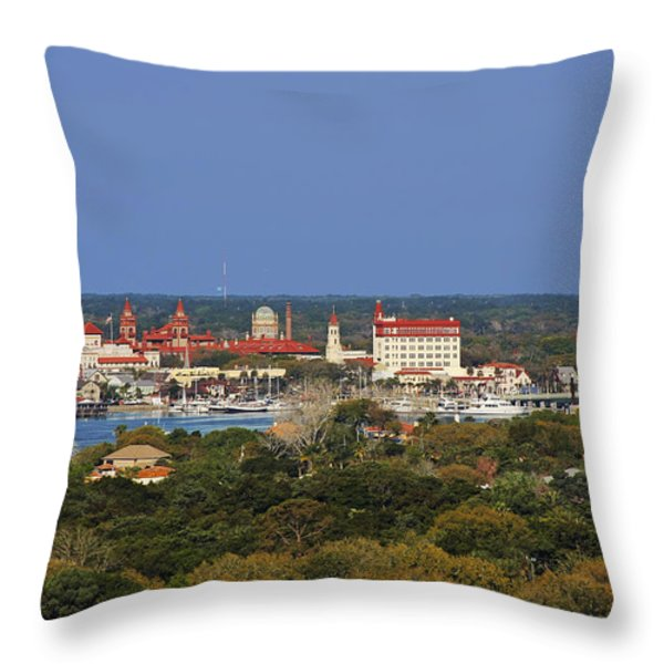 Skyline Of St Augustine Florida Throw Pillow by Christine Till