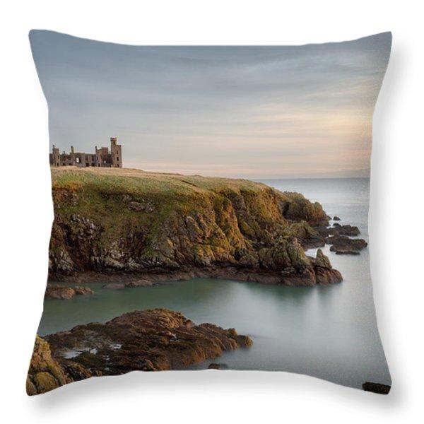 Slains Castle Sunrise Throw Pillow by Dave Bowman
