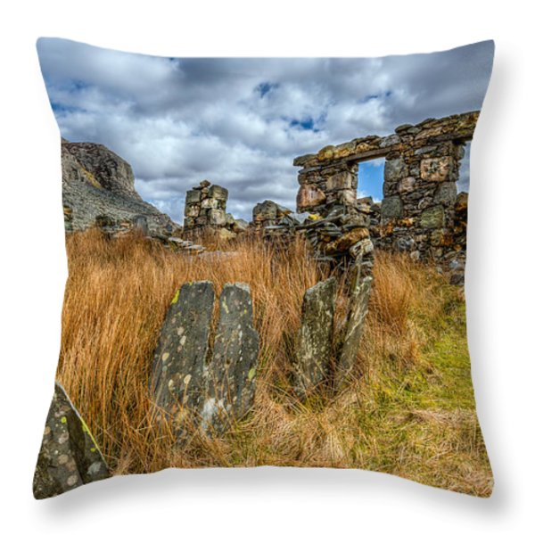 Slate Mine Ruins Throw Pillow by Adrian Evans