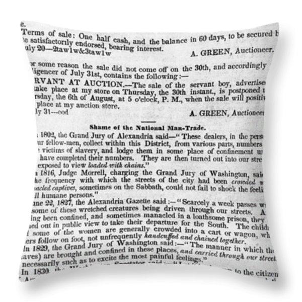 SLAVE TRADE NEWS - 1847 Throw Pillow by Daniel Hagerman
