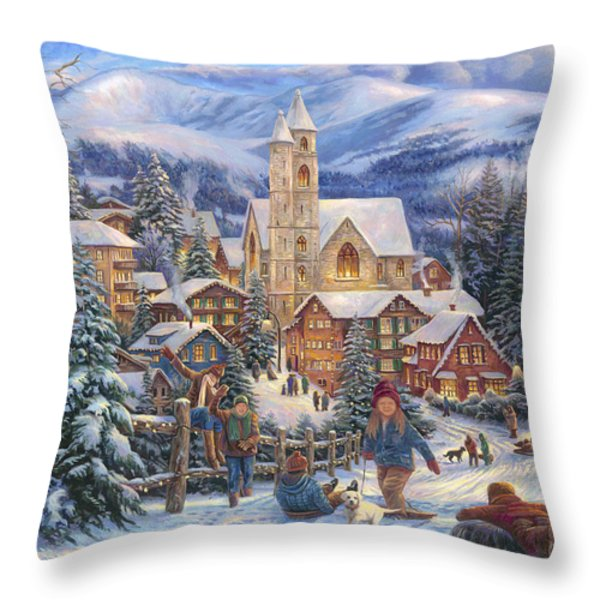 Sledding To Town Throw Pillow by Chuck Pinson