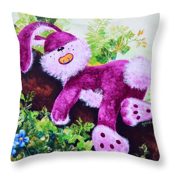 Sleeping Bunny Throw Pillow by Hanne Lore Koehler