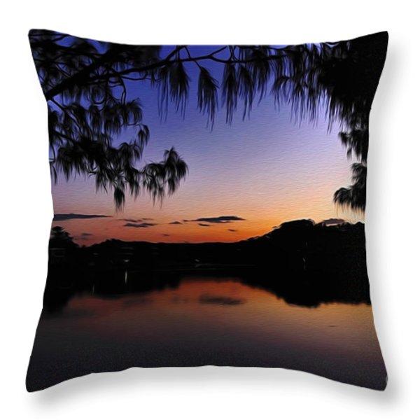 Sleeping Sun Throw Pillow by Kaye Menner