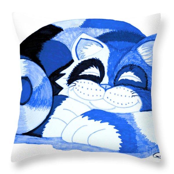 Sleepy Blue Cat Throw Pillow by Nick Gustafson