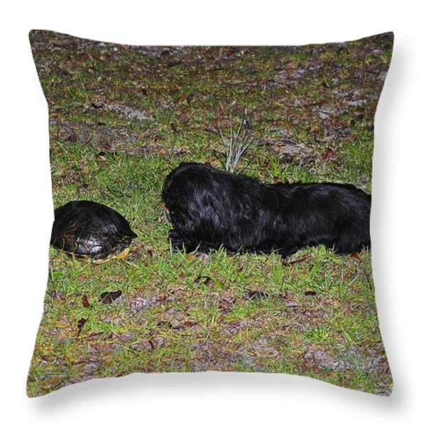 Slider And Shih-tzu Throw Pillow by Al Powell Photography USA