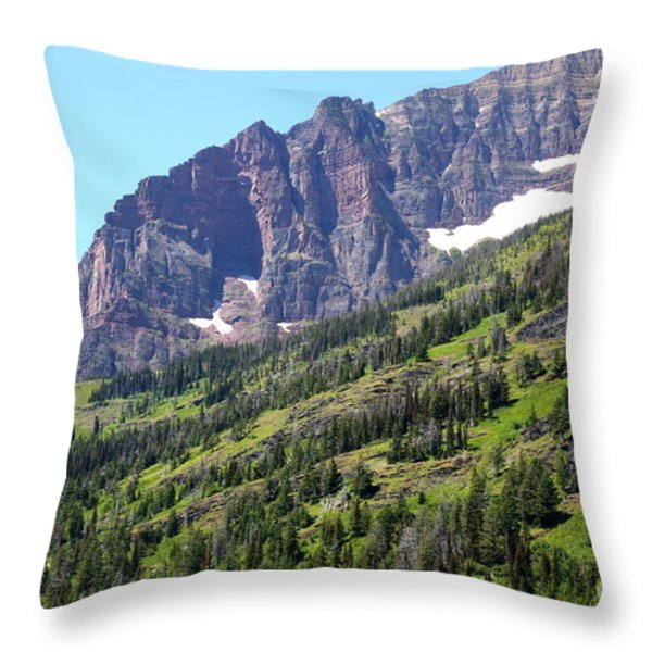 Sloping Mountain At Two Medicine Lake Throw Pillow by Carol Groenen