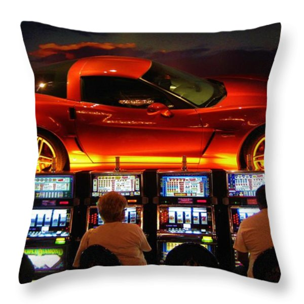 Slots Players In Vegas Throw Pillow by John Malone