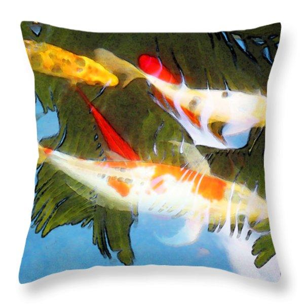 Slow Drift - Colorful Koi Fish Throw Pillow by Sharon Cummings