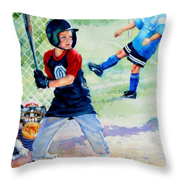 Slugger And Kicker Throw Pillow by Hanne Lore Koehler