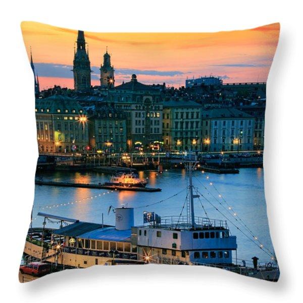 Slussen By Night Throw Pillow by Inge Johnsson