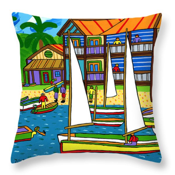 Small Boat Regatta - Cedar Key Throw Pillow by Mike Segal