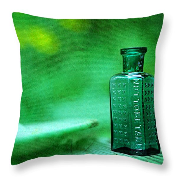 Small Green Poison Bottle Throw Pillow by Rebecca Sherman
