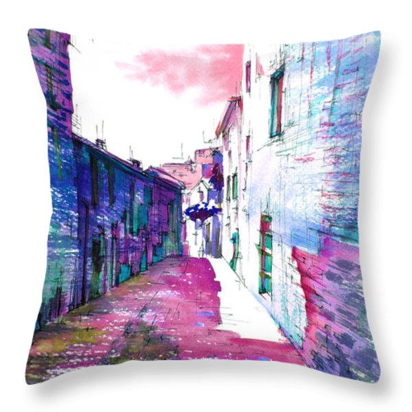 small streets of the city of Gubbio-1 Throw Pillow by Khromykh Natalia
