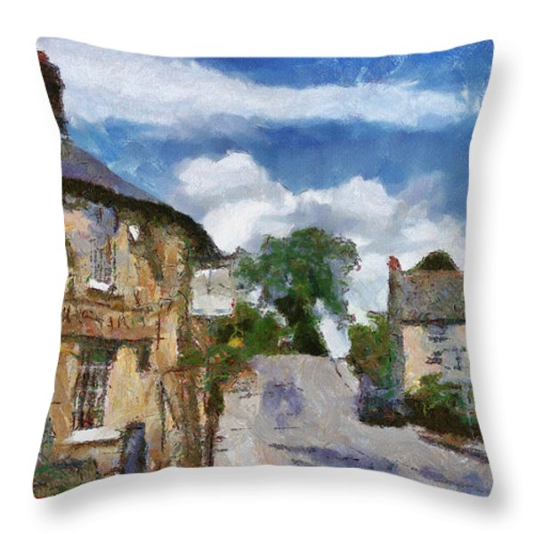 Small Town Street Throw Pillow by Ayse Deniz
